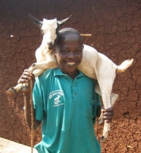 Goat give away beneficiary-uganda